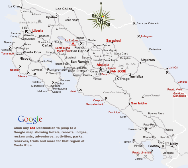 Detailed Google Maps of Costa Rica